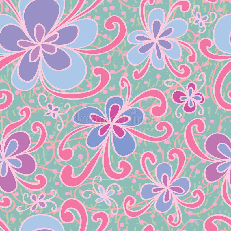De wervelings naadloos patroon van de bloemstijl stock illustratie