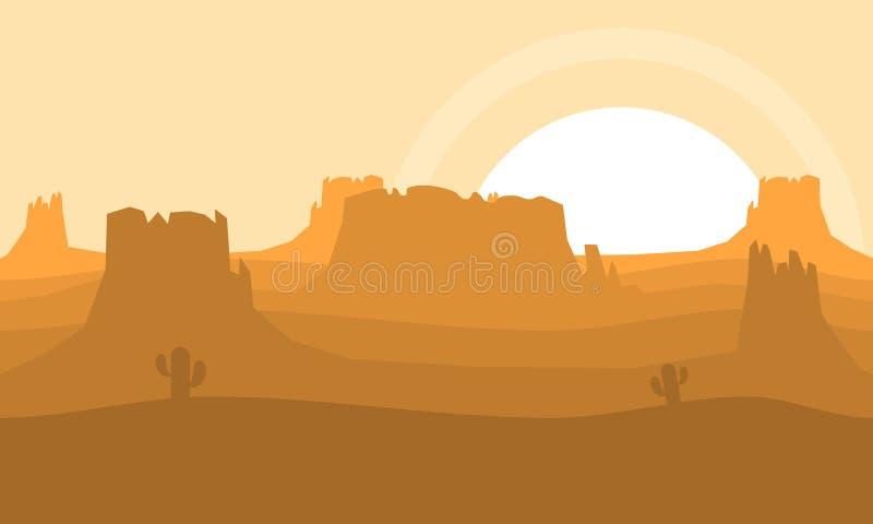 De westelijke Achtergrond van het Woestijnvideospelletje vector illustratie