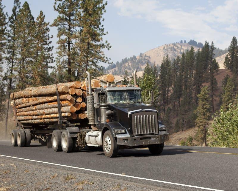 De westelijke lange vrachtwagen achter elkaar van de logboekaanhangwagen royalty-vrije stock fotografie