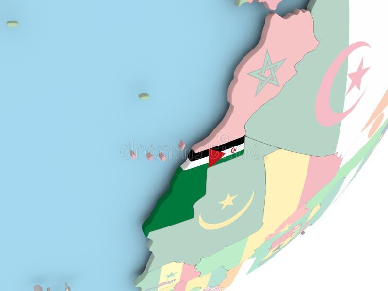 De westelijke Sahara met vlag royalty-vrije illustratie
