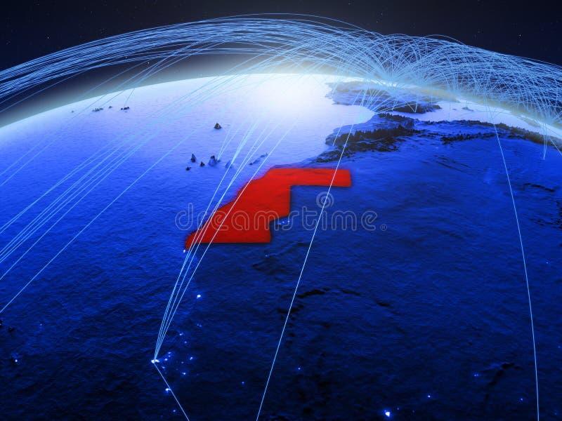 De westelijke Sahara op blauwe digitale aarde met internationaal netwerk die mededeling, reis en verbindingen vertegenwoordigen 3 royalty-vrije stock fotografie