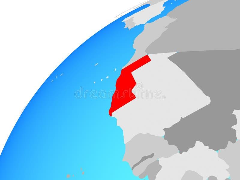 De westelijke Sahara op bol royalty-vrije illustratie