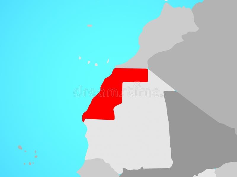 De westelijke Sahara op kaart stock illustratie