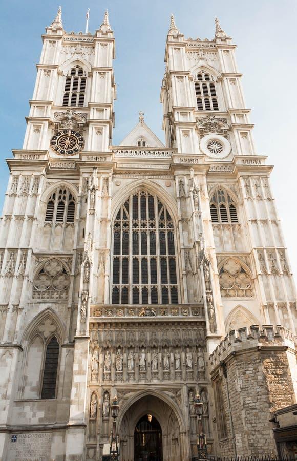 De westelijke voorgevel van de Abdij van Westminster, Londen, het Verenigd Koninkrijk royalty-vrije stock afbeelding