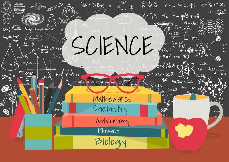 De WETENSCHAP in toespraak borrelt boven wetenschapsboeken, pennenvakje, appel en mok met wetenschapskrabbels op bordachtergrond stock illustratie