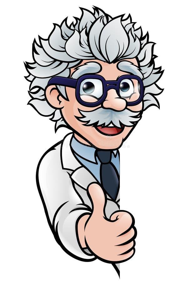 De wetenschapper Cartoon Character Sign beduimelt omhoog stock illustratie