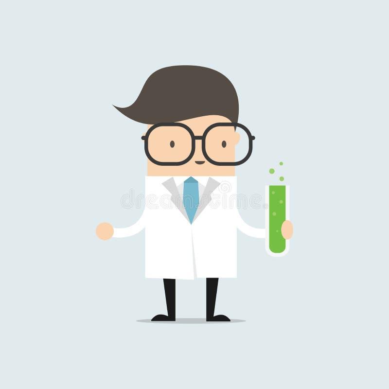 De wetenschapper die een reageerbuis houden, houdt een chemisch experiment royalty-vrije illustratie