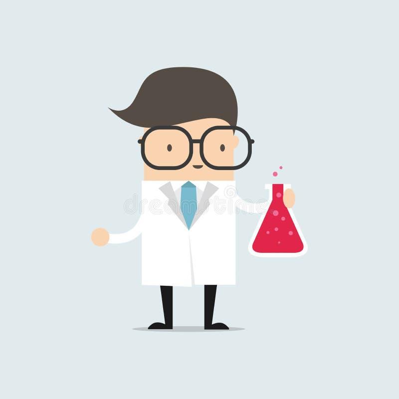 De wetenschapper die een reageerbuis houden, houdt een chemisch experiment stock illustratie