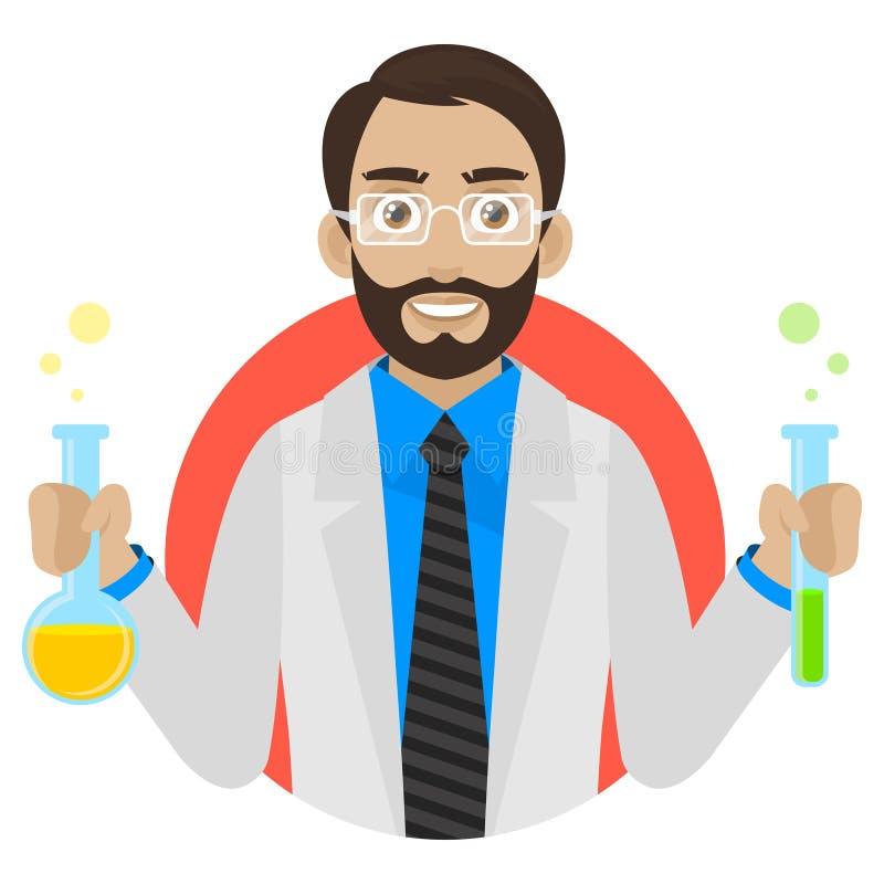 De wetenschapper houdt reageerbuizen in cirkel vector illustratie