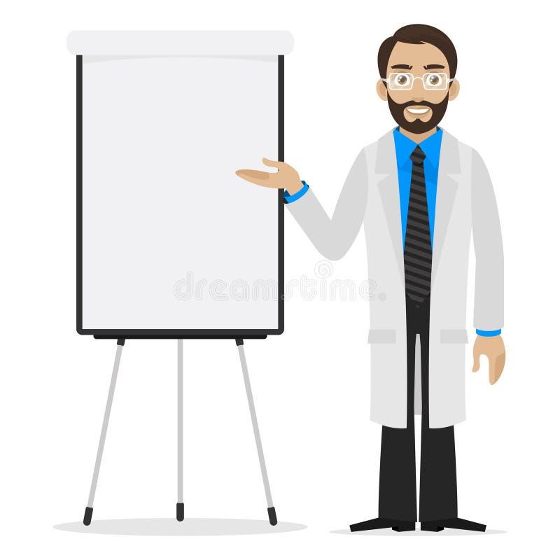 De wetenschapper specificeert op flipchart vector illustratie