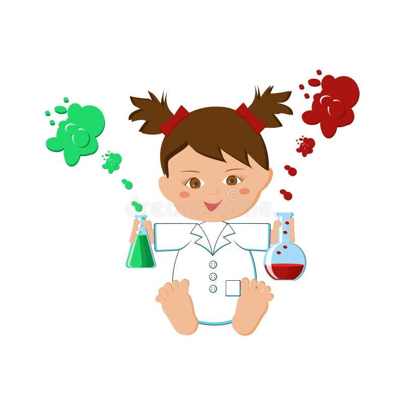De wetenschapper van het babymeisje op wit wordt geïsoleerd dat stock illustratie