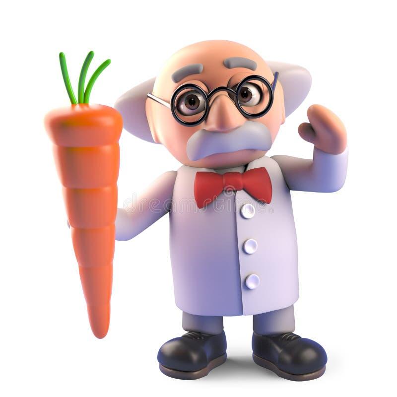 De wetenschapperkarakter dat van de beeldverhaal gek professor een voedzame wortel plantaardige, 3d illustratie houdt royalty-vrije illustratie