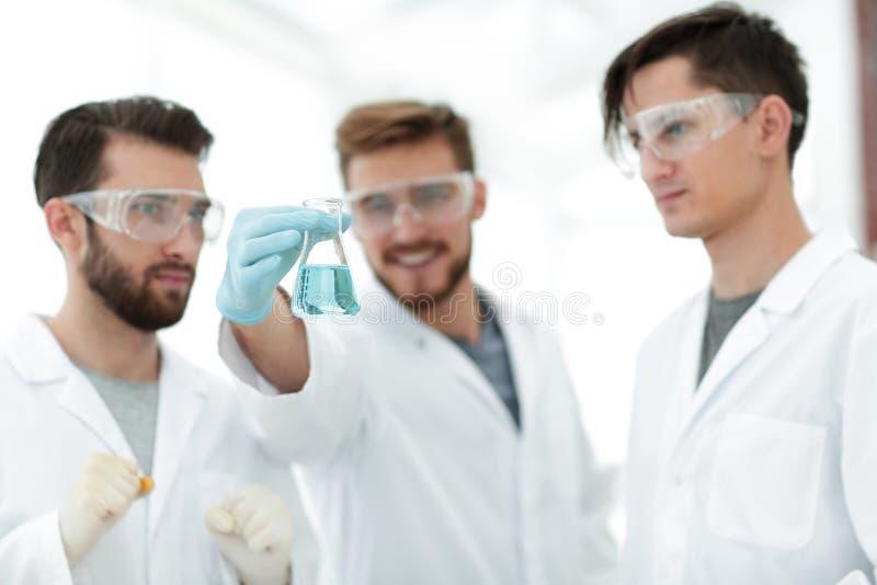 De wetenschappers verheugen zich bij het resultaat van hun werk stock foto