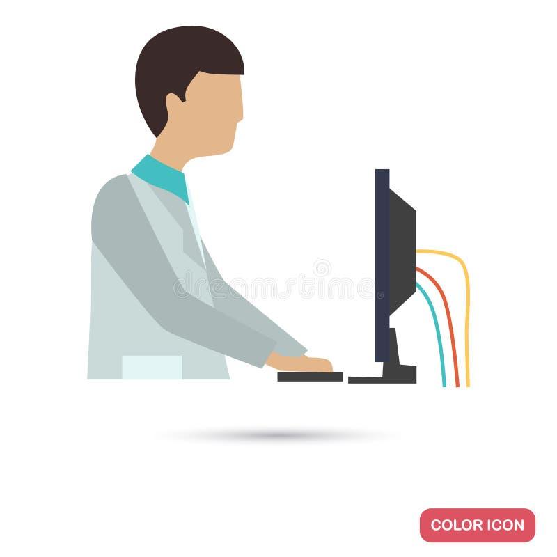 De wetenschapperwerken achter een laboratoriumcomputer kleuren vlakke illustratie stock illustratie
