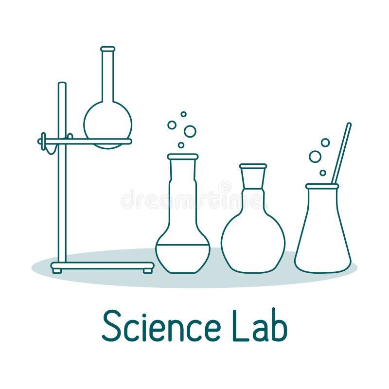 De Wetenschapschemie van het laboratoriummateriaal, biologie, geneeskunde vector illustratie