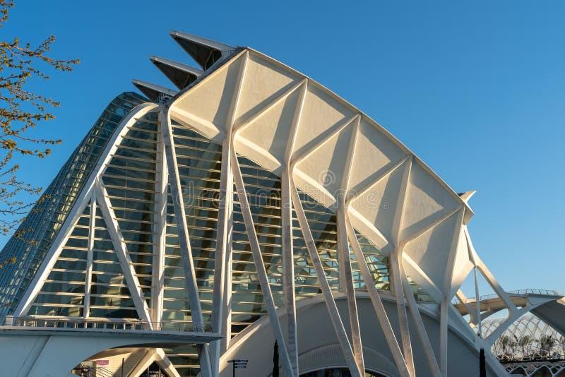 De wetenschapsmuseum van Principe Felipe in Valencia Spain op 25 Februari, 2019 stock afbeelding