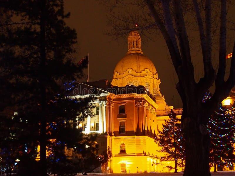 De wetgevende Bouw Edmonton, Alberta With Christmas Lights stock foto