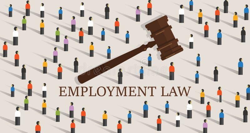 De wetgeving van de arbeidsrechtarbeid een hamer en mensen cowd concept wettelijk onderwijs stock illustratie