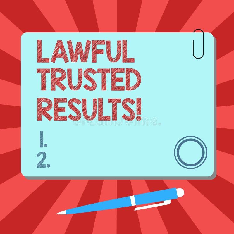 De Wettige Vertrouwde op Resultaten van de handschrifttekst Concept die Sluitend overeenkomst veilig door wettelijke contracten e vector illustratie