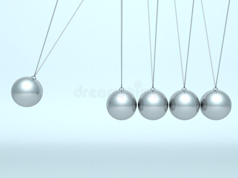 De wiegballen van Newton op blauwe achtergrond vector illustratie