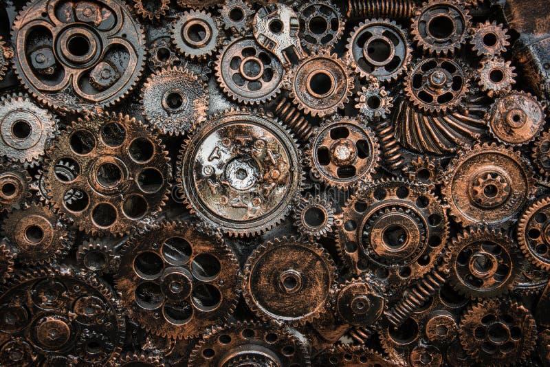 De wielen die van het metaalradertje samen plakken stock afbeeldingen