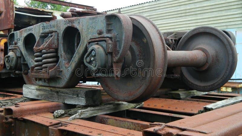 De Wielen van de spoorauto stock foto