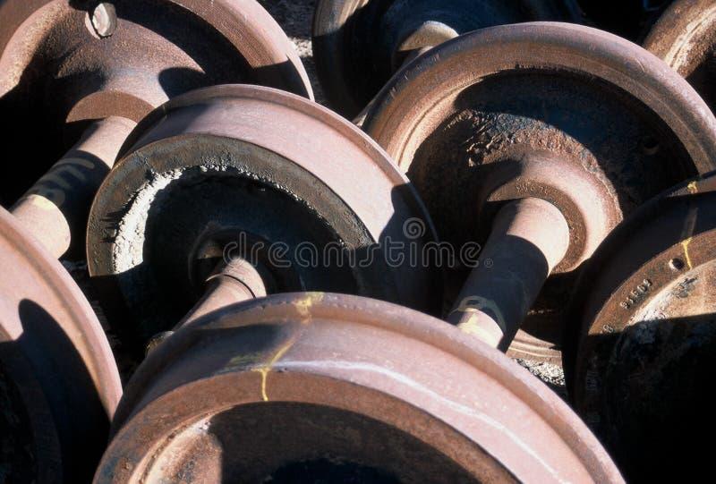 De wielen van de spoorweg stock foto