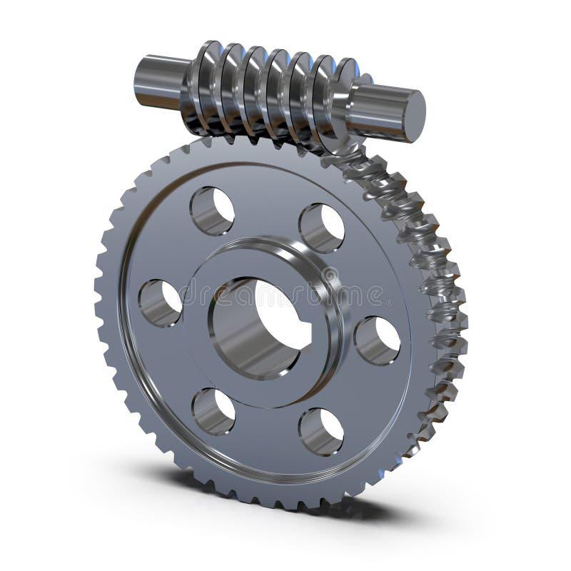 De wielen van de toestelworm Werktuigkundigen voor opleiding het 3d teruggeven stock illustratie
