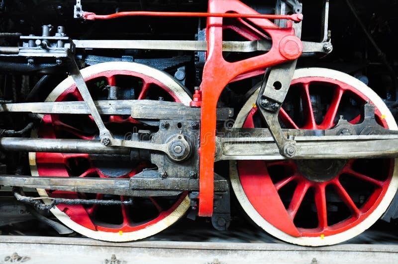 de wielendetails van een treinlocomotief royalty-vrije stock foto's