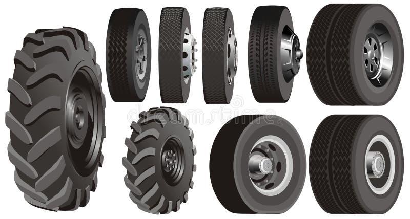 De wielenreeks van de vrachtwagen vector illustratie