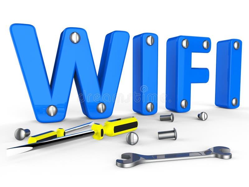 De Wifihulpmiddelen vertegenwoordigt World Wide Web en Toegang royalty-vrije illustratie