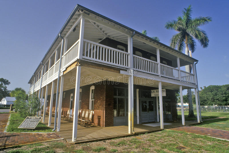 De Wiggins-Opslag bij het Manatee-Dorps Historische Park, Bradenton, Florida stock foto