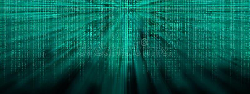 De wijd gloeiende achtergrond van de binaire codematrijs met stralen van licht vector illustratie