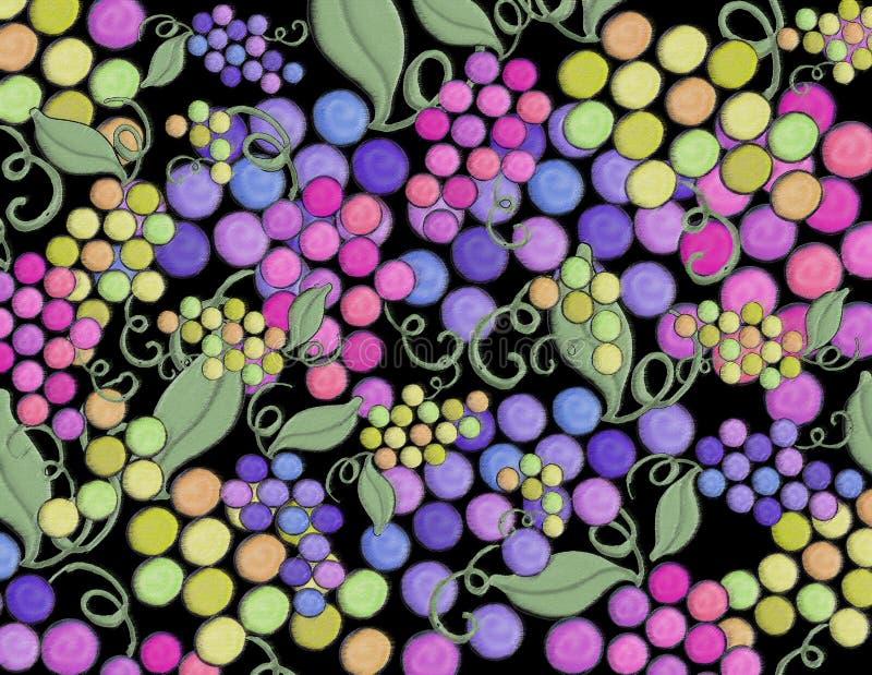 De wijn artistieke die hand van de druivenwijngaard op een zwarte achtergrond wordt geschilderd stock fotografie