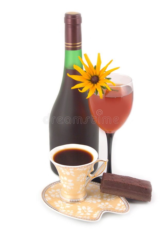 De wijn en de koffie van de bloem stock afbeelding