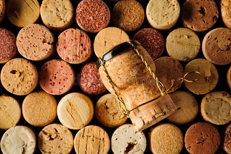 De wijn kurken en champagnecork royalty-vrije stock foto