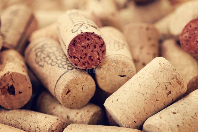 De wijn kurkt achtergronden royalty-vrije stock fotografie
