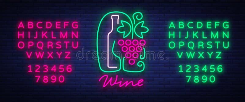 De wijnbar van het malplaatjeembleem in een in neonstijl Embleem, kenteken gloeiende banner Voor het menu, bar, restaurant, wijnl royalty-vrije illustratie