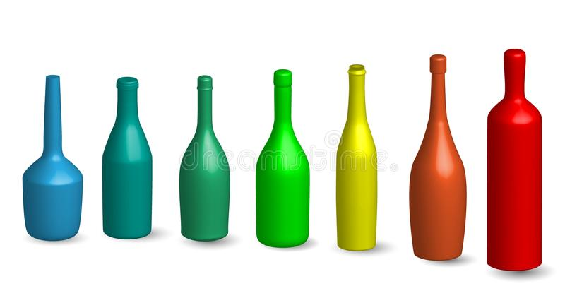 De wijnfles, glas bottels silhouetteert in divers type 3D Wijnfles, glas bottels silhouet omhoog in diverse typespot in gekleurd royalty-vrije illustratie
