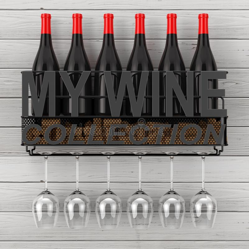 De wijnflessen, kurkt en Glazen in Plank van de de Wijnopslag van de Metaalmuur de Hangende met Mijn Teken van de Wijninzameling  stock illustratie