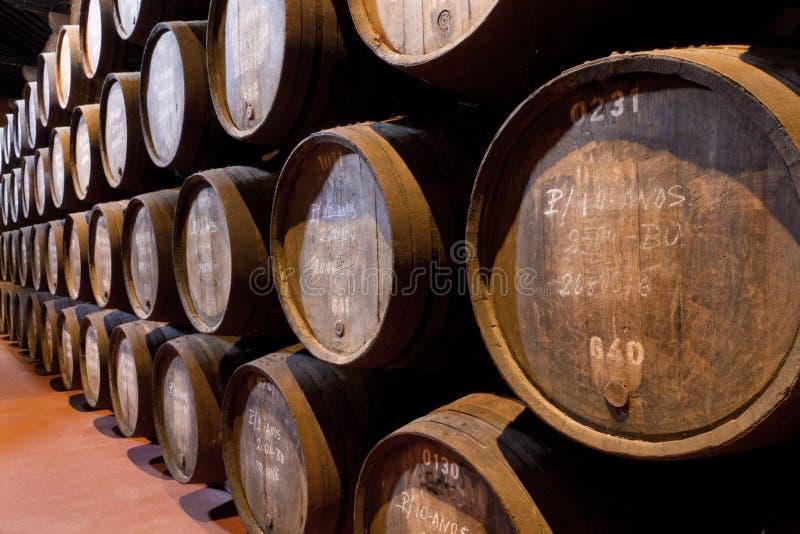 De wijnleeftijden van de haven in vaten in kelder stock fotografie