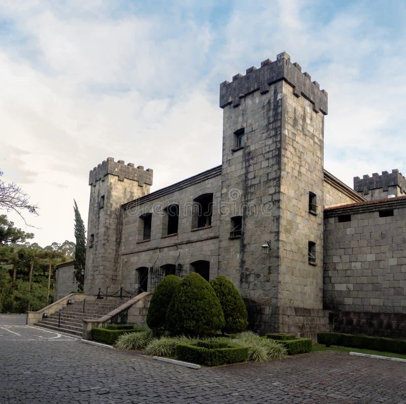 De wijnmakerij en het restaurant van het Lacavekasteel - Caxias do Sul, Rio Grande doet Sul, Brazilië stock afbeelding