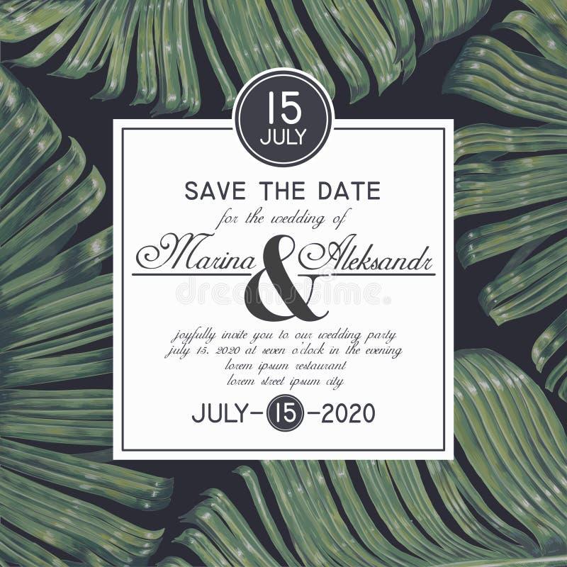 De wijnoogst bewaart de Datumkaart met botanisch ontwerp in realistische stijl stock illustratie