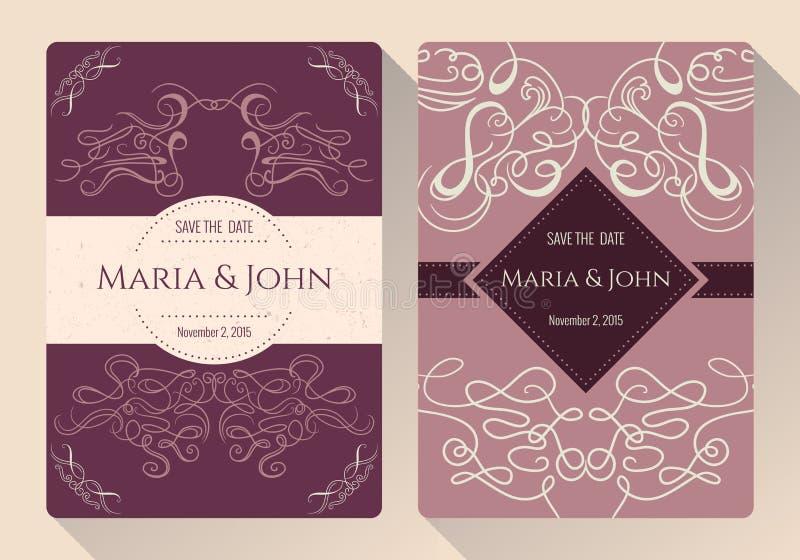 De wijnoogst bewaart de datum of huwelijksinzameling van de uitnodigingskaart met kalligrafische decoratieve elementen royalty-vrije illustratie