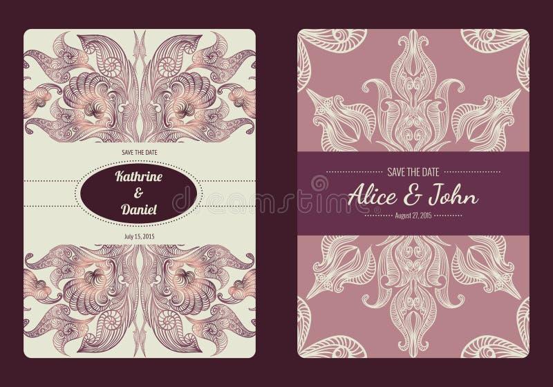 De wijnoogst bewaart de datum of huwelijksinzameling van de uitnodigingskaart Vector romantisch kaartmalplaatje royalty-vrije illustratie