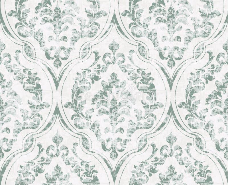 De wijnoogst bloeit gesierde patroonvector Victoriaanse Koninklijke textuur Decoratieve het ontwerpvector van de bloem Lichtgroen stock illustratie