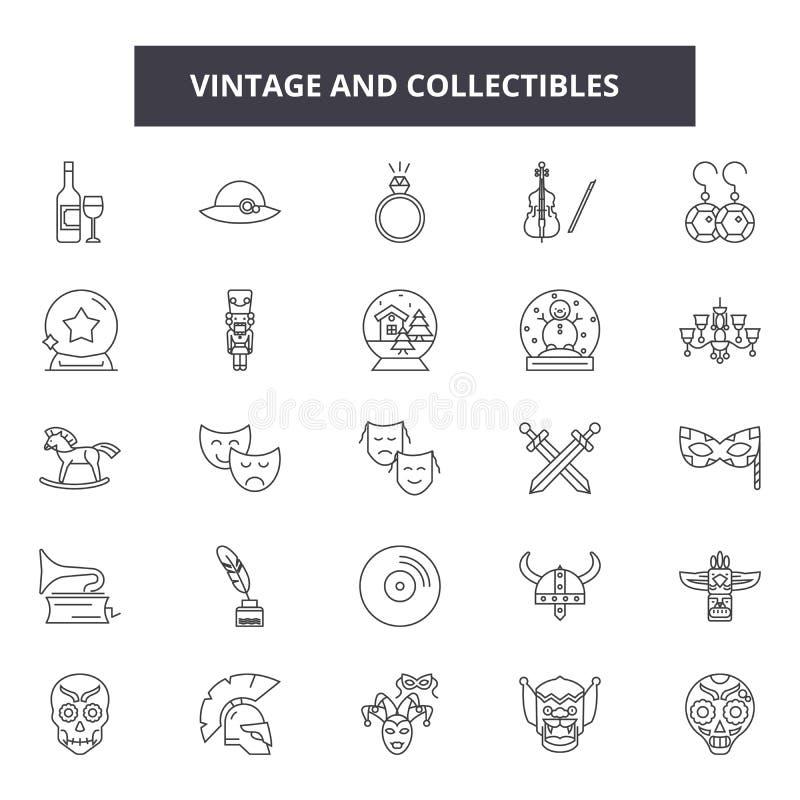 De wijnoogst en collectibles voert pictogrammen, tekens, vectorreeks, het concept van de overzichtsillustratie royalty-vrije illustratie