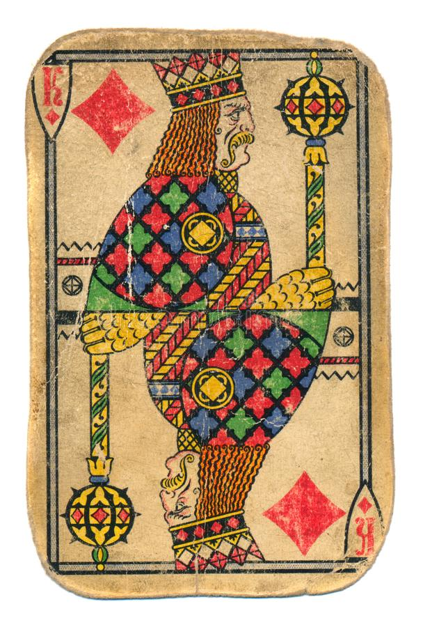 De wijnoogst gebruikte gewreven geïsoleerde speelkaartkoning van diamanten stock fotografie