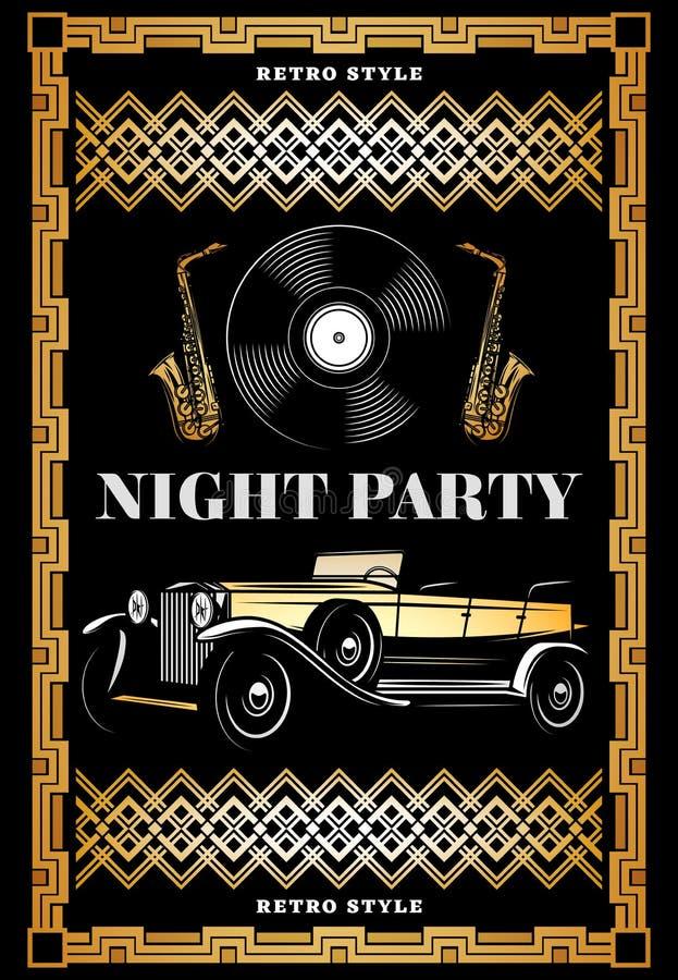 De wijnoogst Gekleurde Affiche van de Nacht Retro Partij stock illustratie