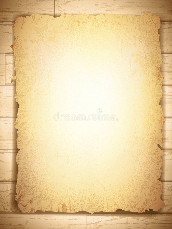 De wijnoogst grunge brandde document bij houten achtergrond royalty-vrije illustratie